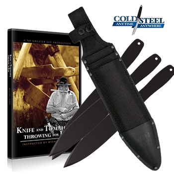 """Knife and Tomahawk Throwing for Fun DVD, 3- 14"""" Coldsteel throwing knives, and sheath"""