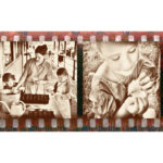 Sepia photo collage of children holding animals and planting seeds with their mother